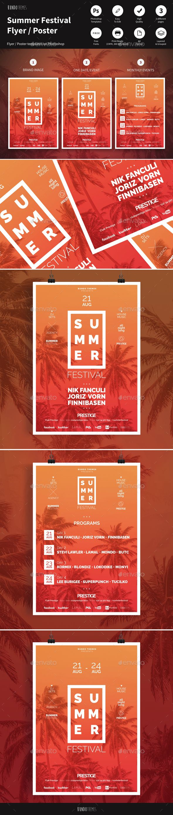 Summer Festival Flyer / Poster Template PSD. Download here: http://graphicriver.net/item/summer-festival-flyer-poster/14559395?ref=ksioks