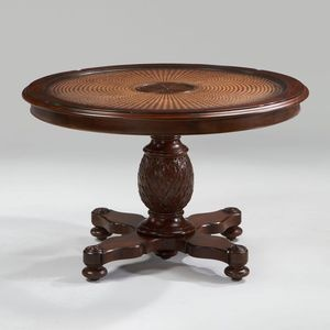 Classic Pineapple Round Table By Ethan Allen With Wicker Inlay On Top.