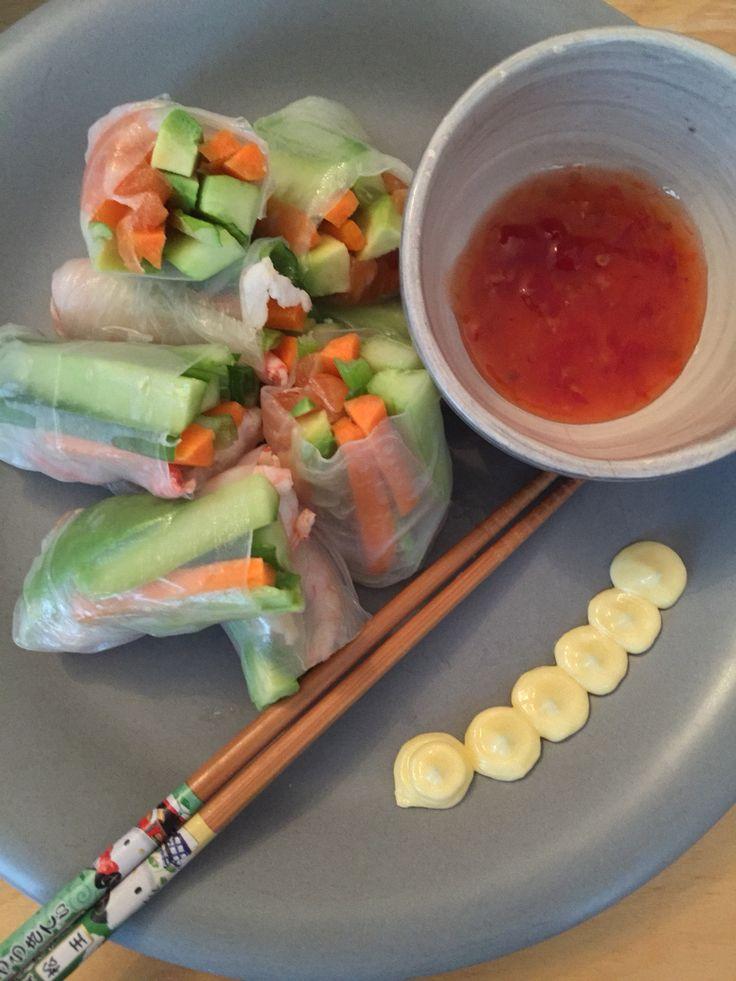Fresh springrolls salmon & shrimps