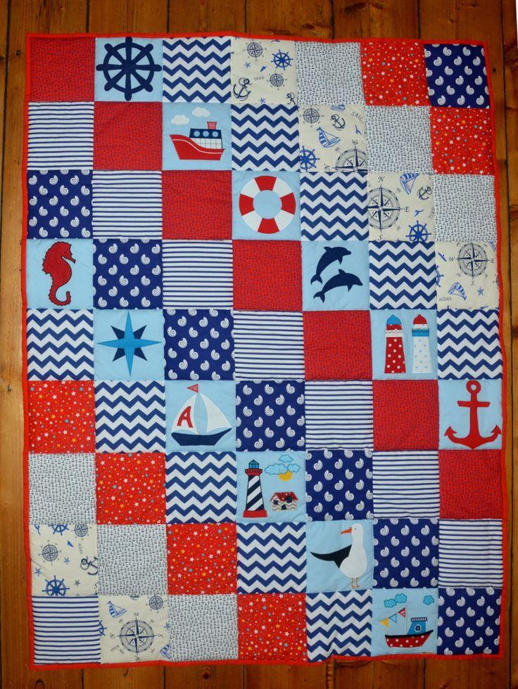 námořnická hrací deka; baby girl nautical quilt