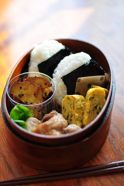 traditional onigiri (rice balls) and tamagoyaki (egg rolls)