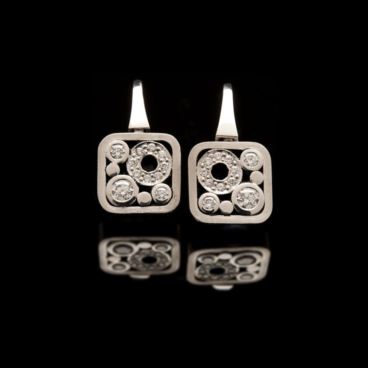 18ct white gold Soft Square Diamond earrings from our 'Carbonated' collection. #CaratsJewellery