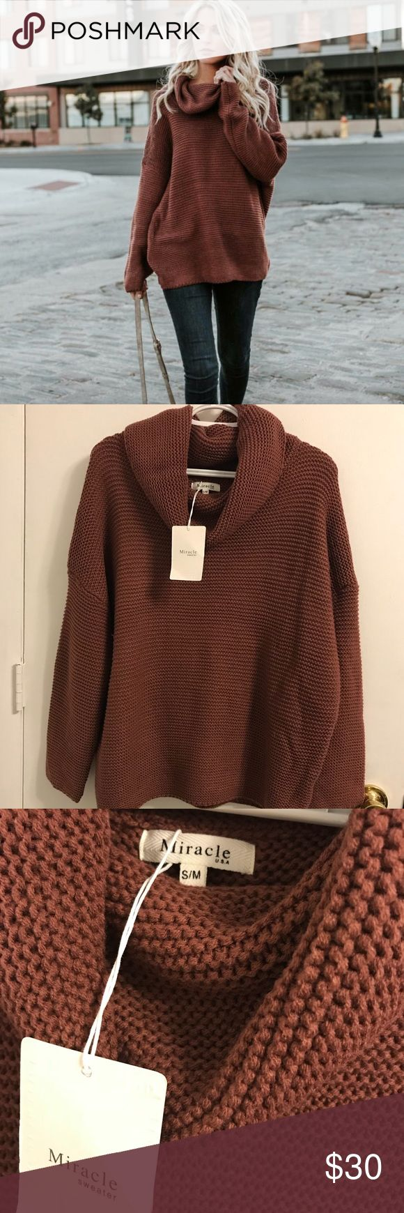 Women's Cowl Neck Sweater This slightly oversized cowl neck sweater is a must have winter staple! Super soft cotton acrylic blend. Ribbed texture dolman sleeve. True to size made to fit big.  Color: red bean in a small/medium Miracle Sweater Sweaters Cowl & Turtlenecks