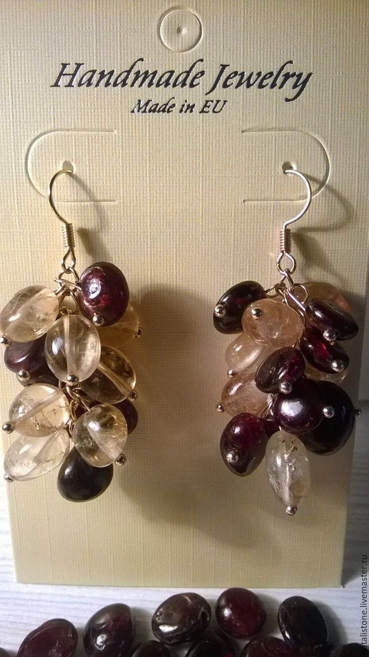 """Wonderful earrings """"Sultry summer"""" with citrine and garnet. Made by Natalia with our citrine for natural stones lovers."""