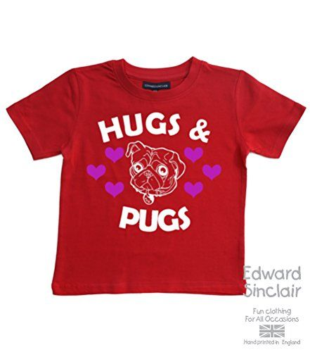 Edward Sinclair Hugs & pugs - Red Cotton T-shirt In Size 3-4 Years. With a White & Pink Glitter Print. Edward Sinclair http://www.amazon.co.uk/dp/B0123RI19Y/ref=cm_sw_r_pi_dp_COFRvb1Y11J8S