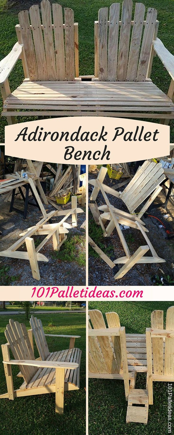 Diy comfortable pallet adirondack chair 101 pallets - Get Your Hands Onto This Diy Pallet Adirondack Bench By Messing A Little Bit With Pallets Physically