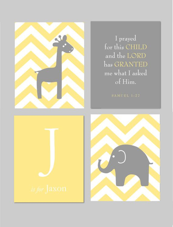 """Yellow and Gray Nursery Elephant Nursery Giraffe Nursery Yellow and Grey Scripture I prayed for this Child  8""""x10"""" You Choose Colors on Etsy, $45.00"""