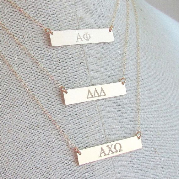 Greek Sorority  Gold Bar Necklace Engraved Date by ERiaDesignsToo
