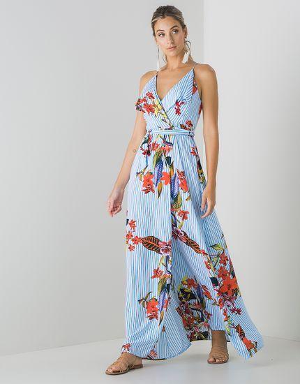 3067b82c1e Vestido Tecido Babado Estampa Listra - zinzane - mobile