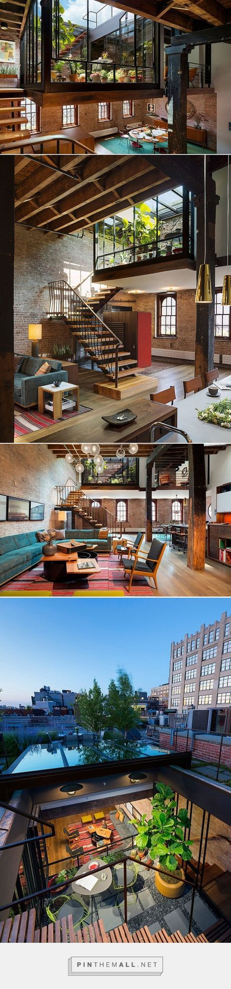 Old Caviar Warehouse Converted into a Sensational NYC Loft - garden space dropped down into the living space