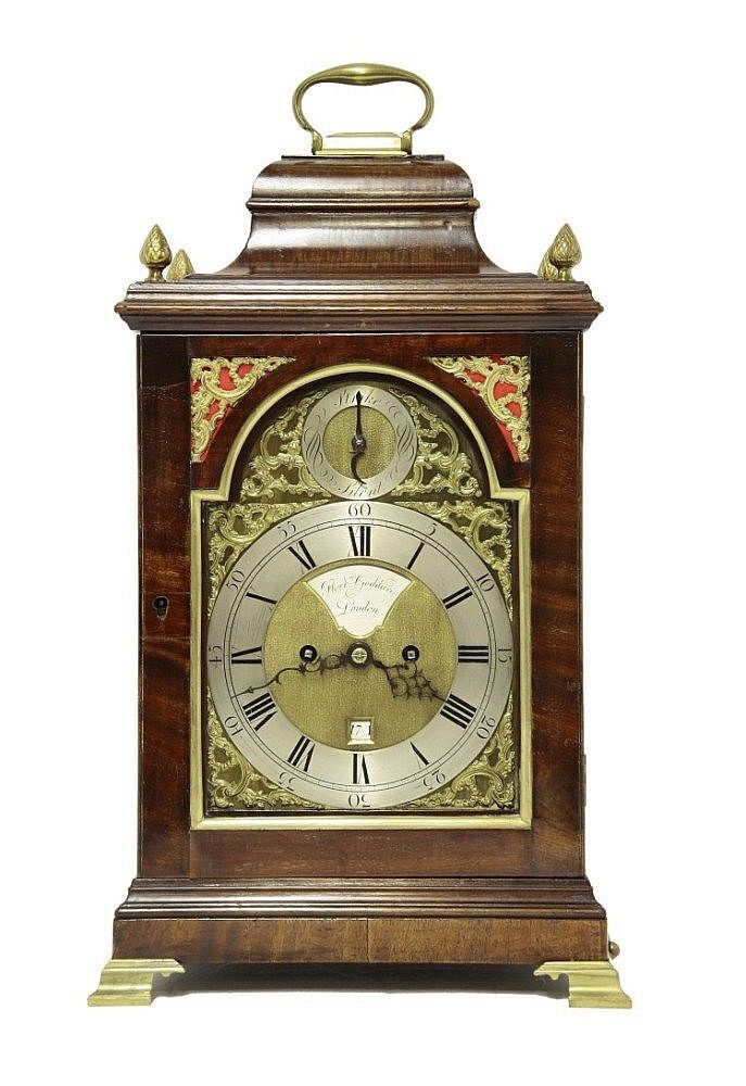 A George III mahogany bracket clock, with arched brass dial strike/silent and date wheel by Florimond Goddard, London, with double fusee movement and pull repeat, hour striking on a bell, 52cm high