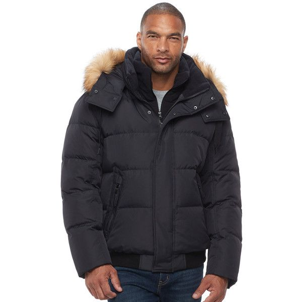 Big & Tall Andrew Marc Clermont Faux-Fur Bomber Jacket (2.061.330 IDR) ❤ liked on Polyvore featuring men's fashion, men's clothing, men's outerwear, men's jackets, black, mens flight jacket, mens fur lined bomber jacket, mens big and tall bomber jackets, mens faux fur lined jacket and mens tall outerwear