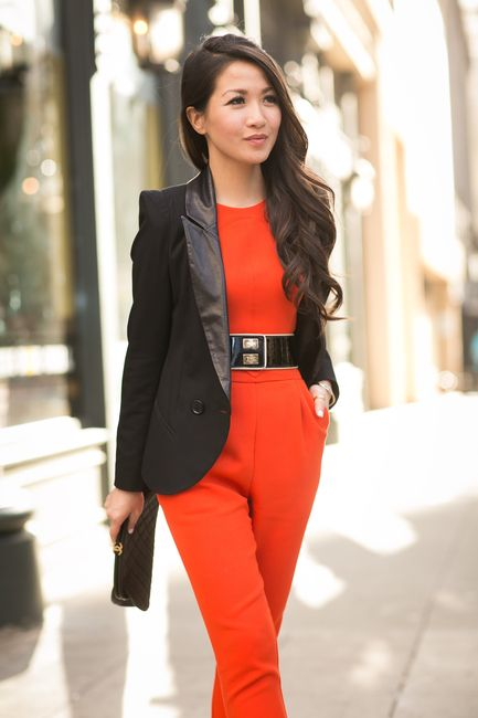 Suiting Up :: Orange jumpsuit & Sharp blazer