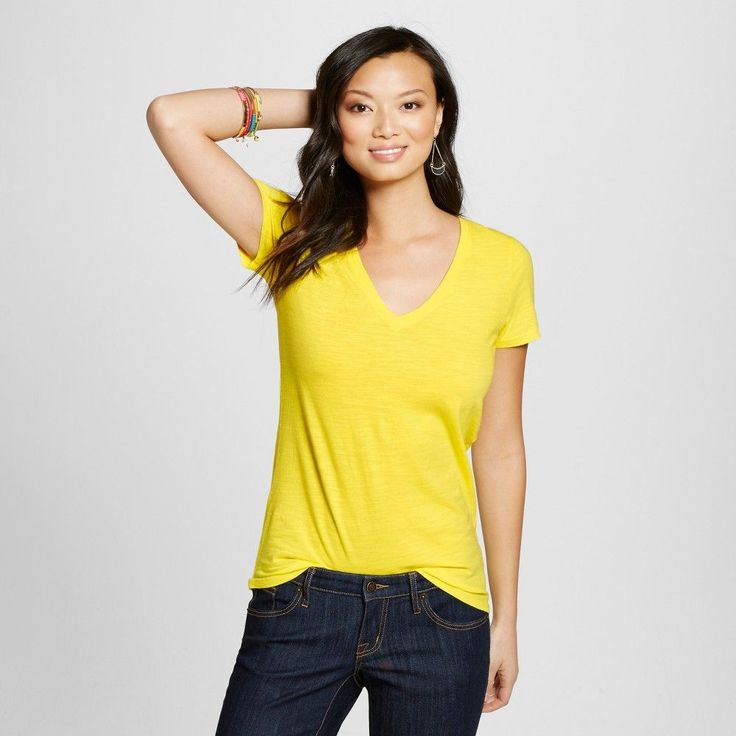 Women's Vintage Vee Tee Safety Yellow M - Merona