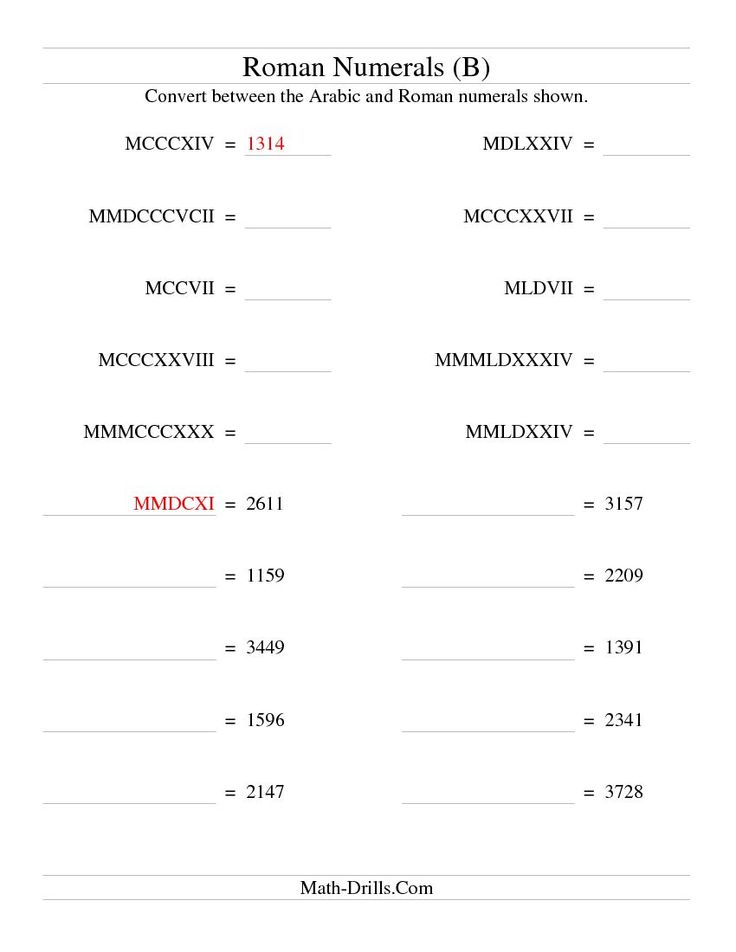 Roman Numeral Conversion up to 3999 (Compact Version) (B) Math Worksheet #freemath