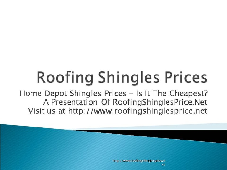 Watch this informative articles on home depot roofing shingles prices. For more such videos, articles and reports - check out - http://www.roofingshinglesprice.net/