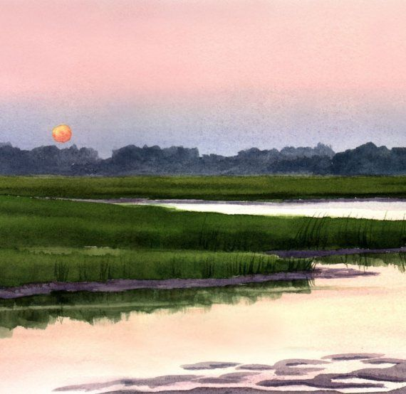 Mary Ellen Golden watercolors - love the sunset on the marsh - so relaxing