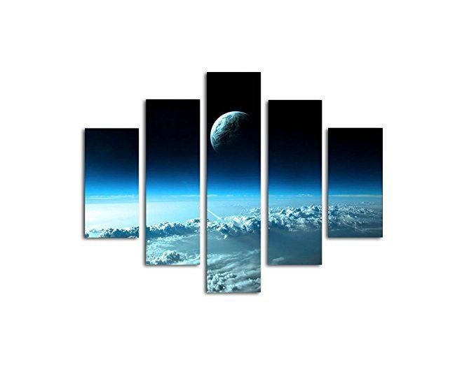 leinwandbild sky 5 teilig wandbild 100x80cm all erde weltraum handgefertigt bilder weltall weltkarte wandbilder leinwandbilder leinwand 50x75 angebot