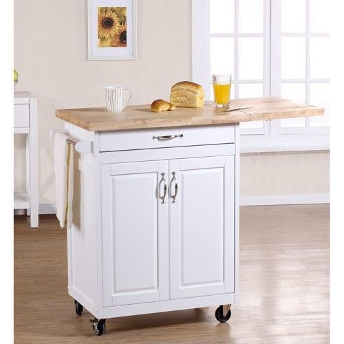 Kitchen Cart White Storage Island Rolling Cabinet Chopping Cutting Board Counter Has Leaf But