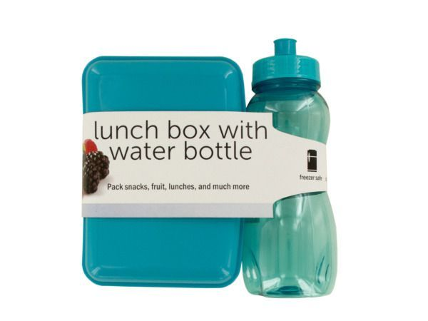 "Lunch Box with Water Bottle, 8 - Pack snacks, fruit, lunches and much more with this Lunch Box with Water Bottle Set featuring a rectangular blue plastic lunch box with a snap lid and a 20-ounce transparent blue water bottle with an easy-grip shape and a sports top. Lunch box measures approximately 7"" x 2.5"" x 5"". Water bottle is approximately 8.5"" tall. Both pieces are freezer, dishwasher and microwave safe. Comes packaged with a wrap around in a poly bag.-Colors: transparent,blue…"
