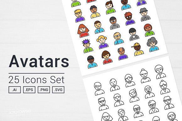 Avatars People Icons Set by Krukowski Graphics on @creativemarket
