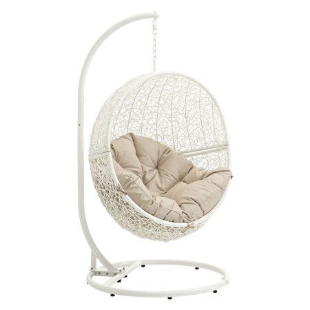 Modway Hide Outdoor Patio Swing Chair, Multiple Colors Available, Beige