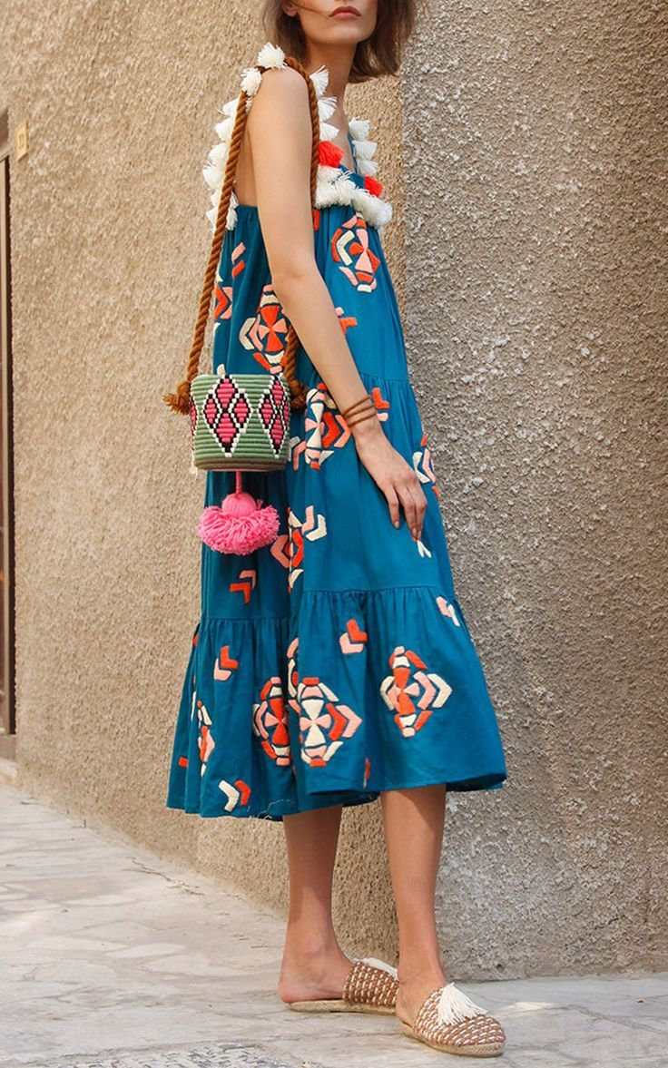 Tassa Embroidered Midi Tiered Dress by MOCHI for Preorder on Moda Operandi