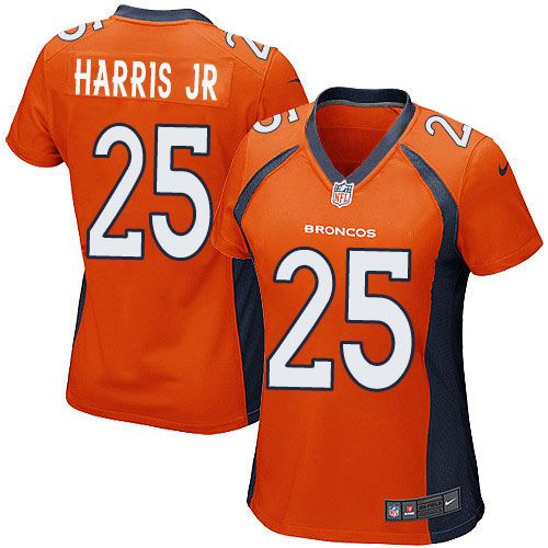 nike game chris harris jr orange womens jersey denver broncos 25 nfl home