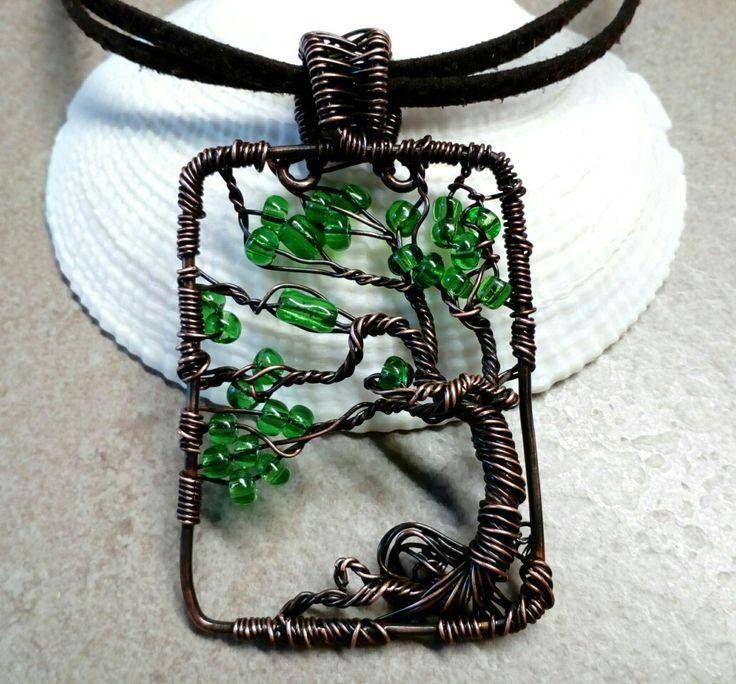 Περιδέραιο - Το δέντρο της ζωής σε αντικέ χαλκό με σουέιντ κορδόνι
