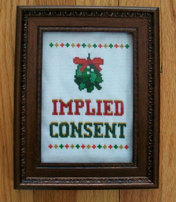 Christmas Mistletoe Finished Framed Cross Stitch - Implied Consent. $50.00, via Etsy.