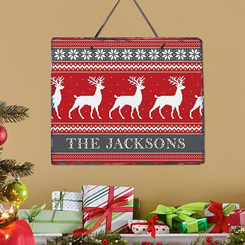 Personal Creations Personalized Reindeer Sweater Slate