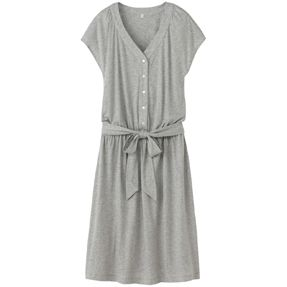 Cotton & silk cap sleeve dress | Muji