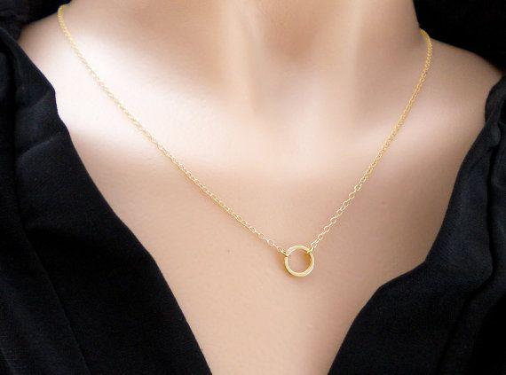 Collar anillo de círculo de oro collar de capas de por AraMarie