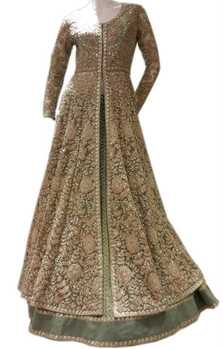 layered anarkali lehenga