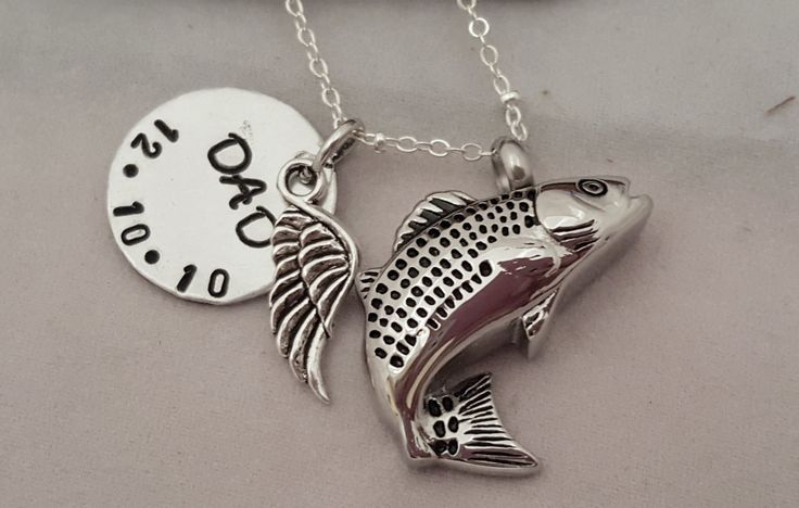 9 best hand stamped ornaments images on pinterest hand for Fish urn necklace