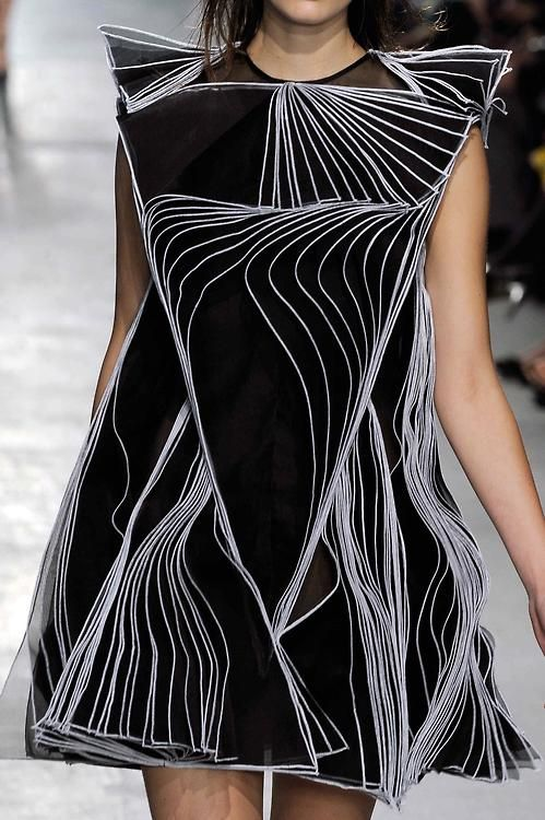 Wearable art with specialised pleating from @Christopher Kane at #LFW