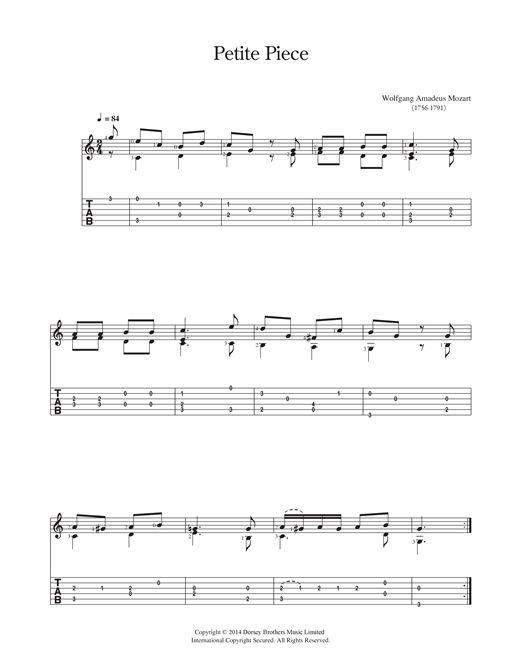 Wolfgang Amadeus Mozart: Petite Piece - Partition Guitare Classique - Plus de 70.000 partitions à imprimer !
