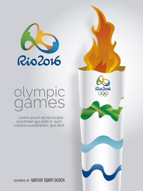 Olympic Torch Rio 2016 design. Space available to customize message. Includes official logo. Special for invitations, ads, promotions or covers. Enjoy