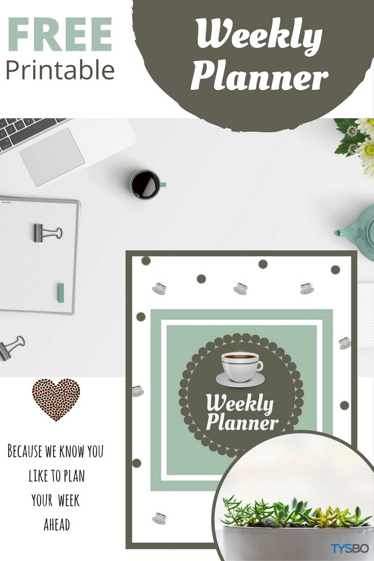 Plan your business week ahead with a weekly planner. Grab and print it at home. It's FREE!