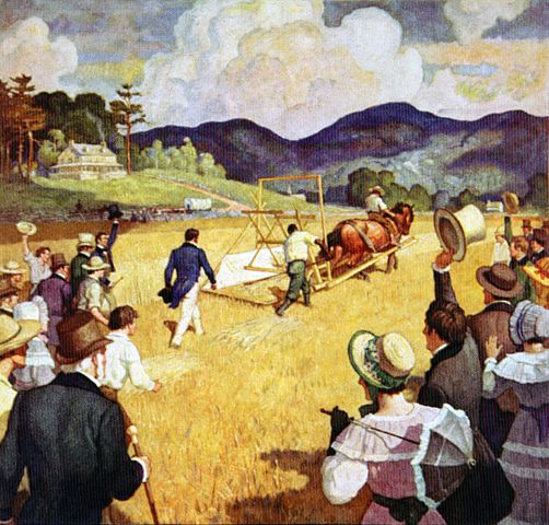 'Public Test of the World's First Reaper'  (ca. 1930) - N.C. Wyeth -destroyed by fire, 1960 image use courtesy of Navistar International Corporation Advertising image, 1931, commissioned and copyrighted by International Harvester to mark the 100th anniversary of the public test of the first McCormick reaper; image appeared in major magazines such as Country Gentleman; Saturday Evening Post;The Western Home Monthly, all 1931