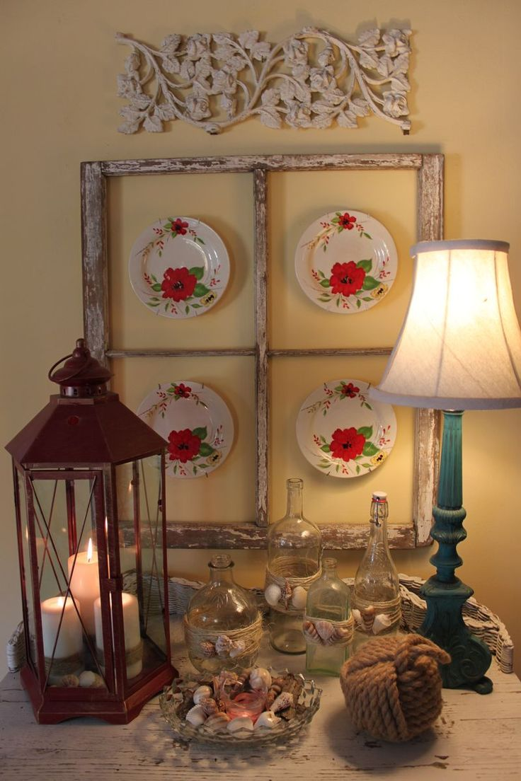 love the plates in the old window frame and the blue lamp: Old Window Frames, Cottages Style, Decor Style, Cabinets Frames, Window Ideas, Opulence Cottages, Display Ideas, Frames Ideas, Old Pictures Frames