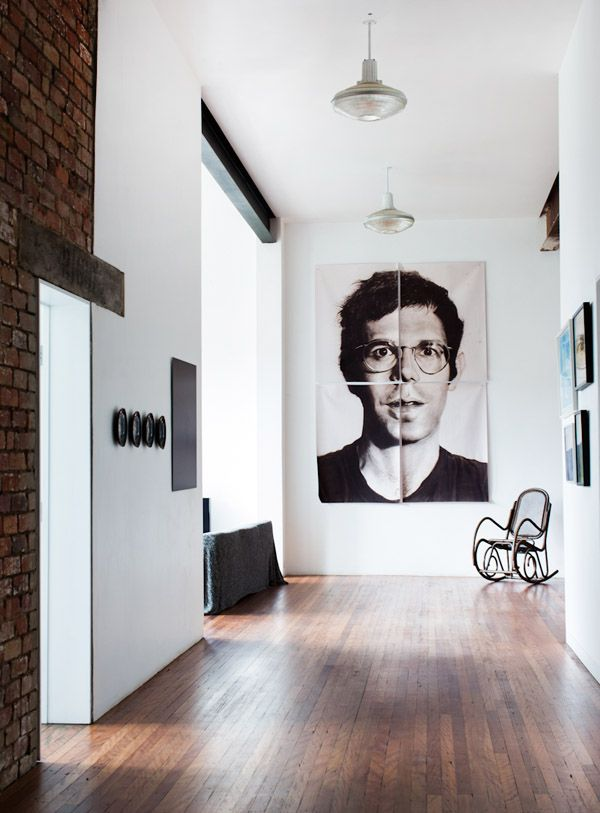 LIVING ROOM // Oversized art in the home of Alex and Georgie Cleary via thedesignfiles.net. Photo by Sean Fennessy.