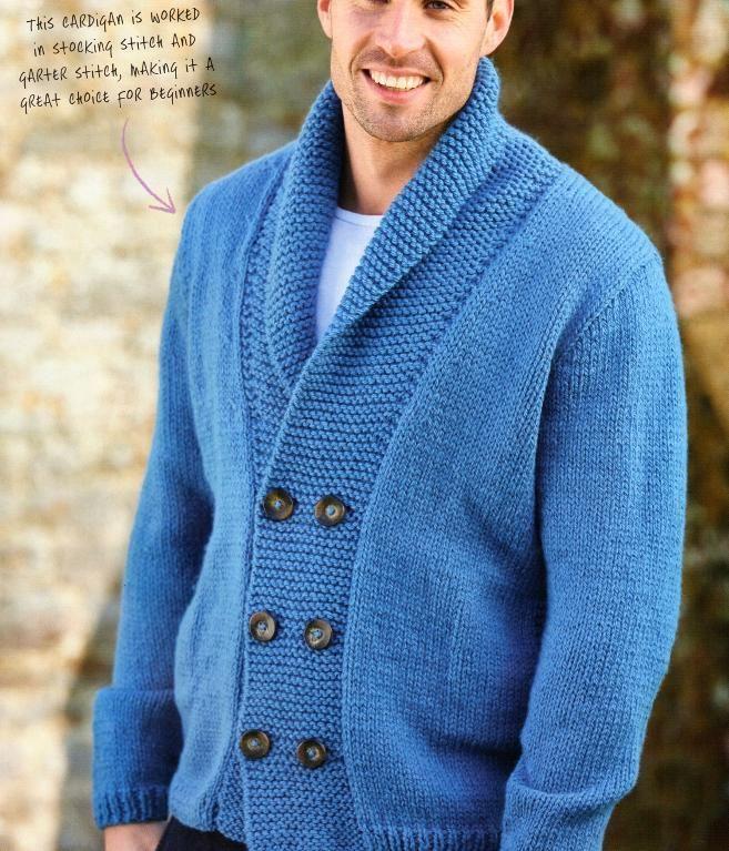 (6) Name: 'Knitting : Men's Shawl Collar Cardigan.