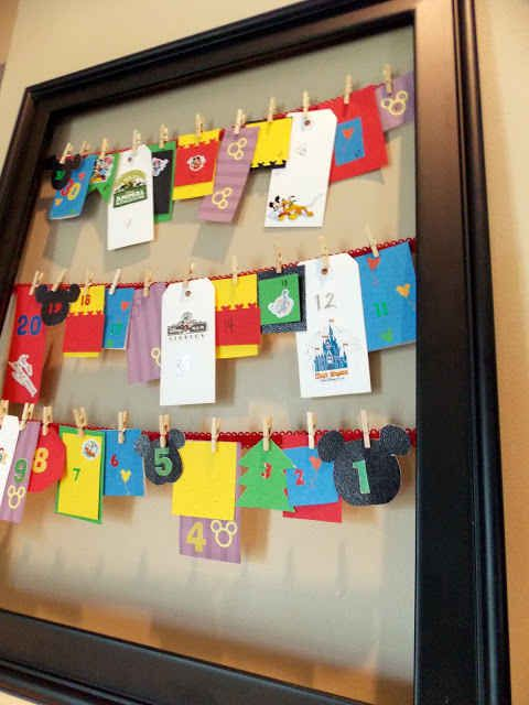 Another variation on the countdown: a frame and tiny clothespins. | 36 DIYs That Will Get The Whole Family Psyched For A Disney Vacation