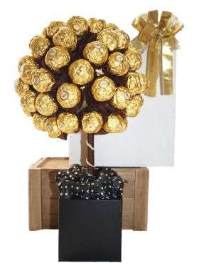 A delicious mouth watering hand made  gift with genuine Ferrero Rochere Chocolates .. Surprise someone with this irresistible Ferrero Rochere Tree Bouquet