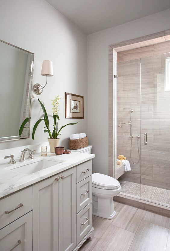 white and neutrals basement bathroom