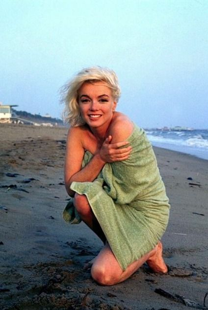 Marilyn Monroe at Santa Monica Beach, California. She was the biggest star on…