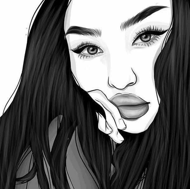 art, noir et blanc, griffonnages, dessiné, dessin, fille, grunge, illustration, grunge doux, Tumblr