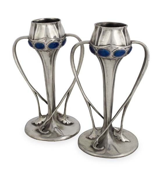 ARCHIBALD KNOX (1864-1933) FOR LIBERTY & CO., LONDON PAIR OF 'TUDRIC' PEWTER SPILL VASES #ukauctioneers