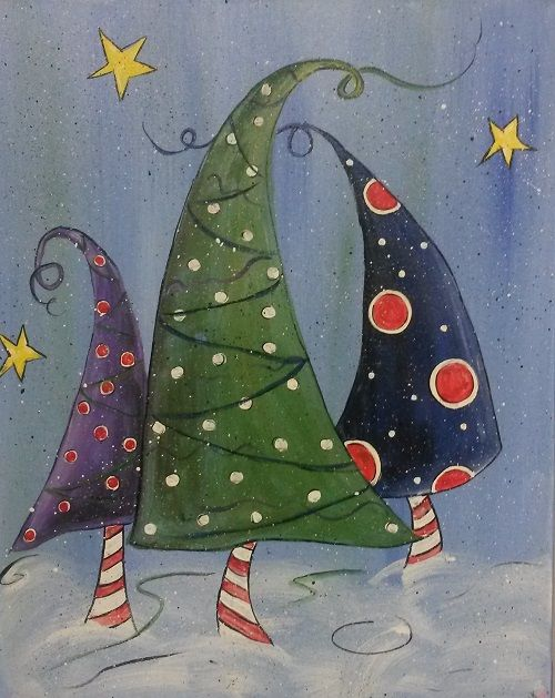 whimsical christmas tree canvas paintings - Google Search